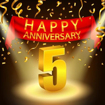 la celebración de Aniversario 5º feliz con confeti dorado y punto de mira Ilustración de vector