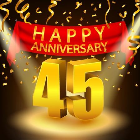 45th: Happy 45th Anniversary celebration with golden confetti and spotlight Illustration