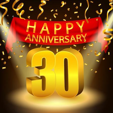 30th: Happy 30th Anniversary celebration with golden confetti and spotlight Illustration