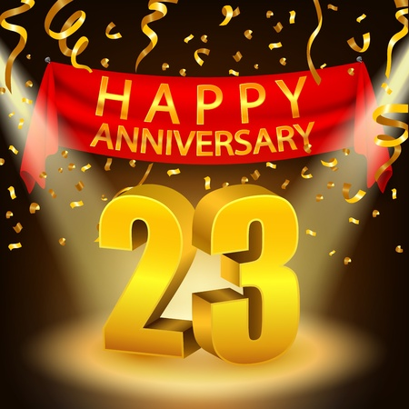 20 23 years: Happy 23rd Anniversary celebration with golden confetti and spotlight