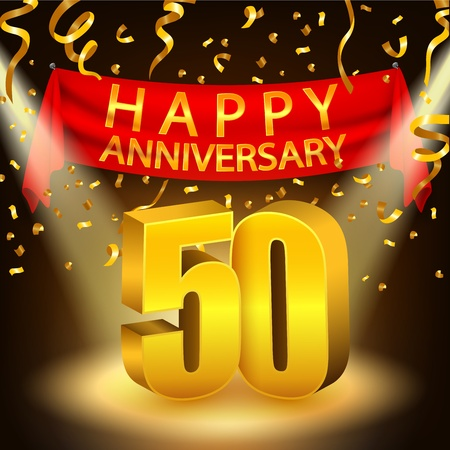 Happy 50th Anniversary celebration with golden confetti and spotlight
