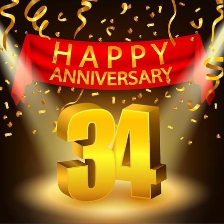 34: Happy 34th Anniversary celebration with golden confetti and spotlight