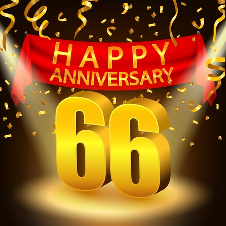 sixth birthday: Happy 66th Anniversary celebration with golden confetti and spotlight
