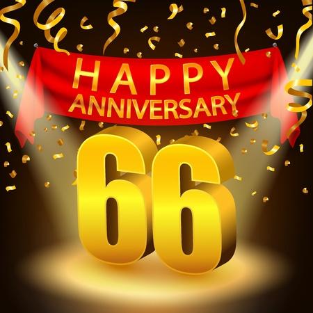 sixth birthday: Happy 66th Anniversary celebration with golden confetti and spotlight