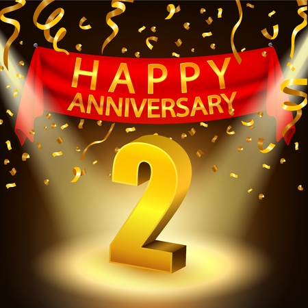 Bonne 2e célébration d'anniversaire avec des confettis dorés et projecteurs