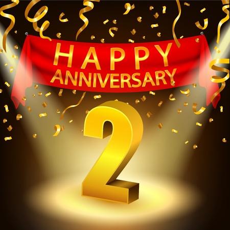 Happy 2nd Anniversary Feier mit goldenen Konfetti und Rampenlicht Standard-Bild - 49921627