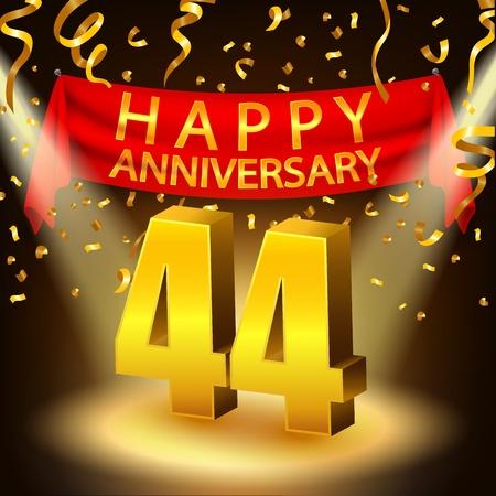 Happy 44th Anniversary celebration with golden confetti and spotlight Illustration