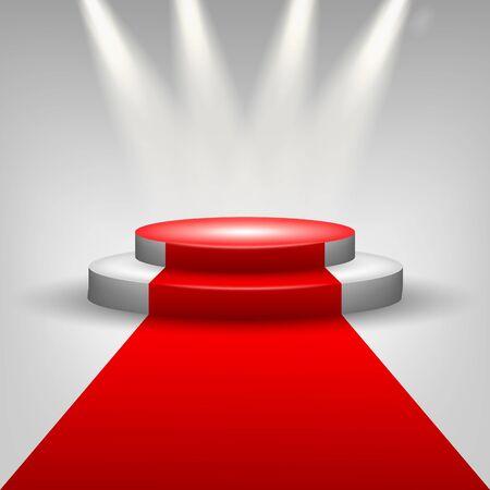 semaforo rojo: Alfombra roja a la etapa podio con focos Vectores