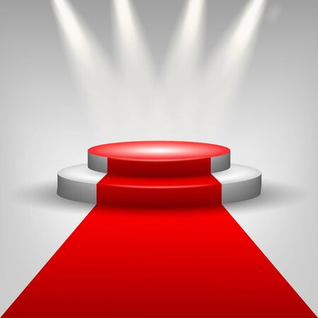 red and white: Red carpet to podium stage with spotlights Illustration