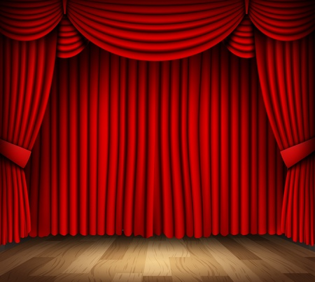classical theater: Red curtain of classical theater with wood floor