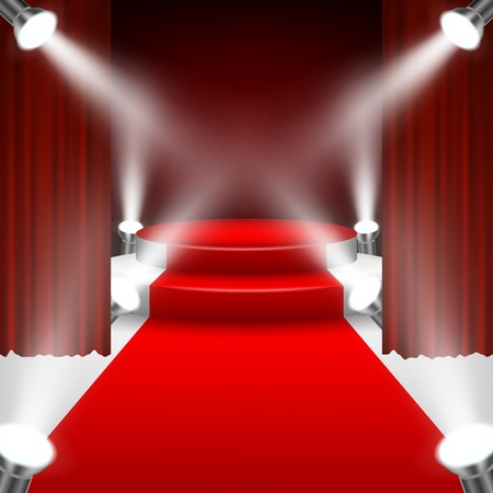 red curtain: Red carpet to podium stage with spotlights and red curtain