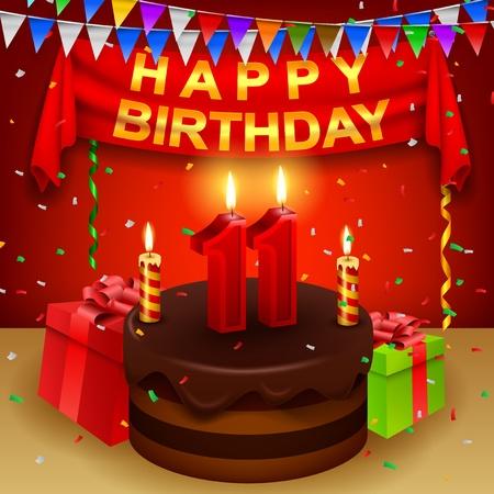 eleventh birthday: Happy 11th Birthday with chocolate cream cake and triangular flag Illustration