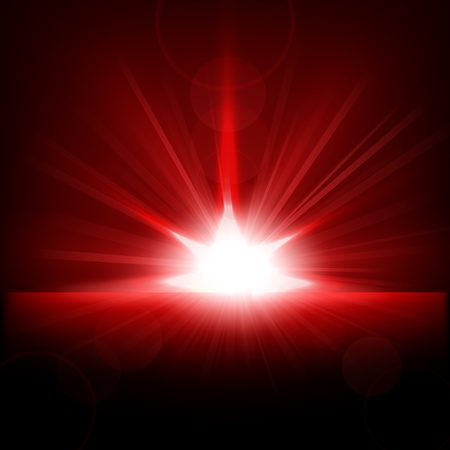 sun flares: Red Rays rising from horizon