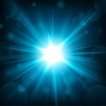 energy background: Blue shine with lens flare background