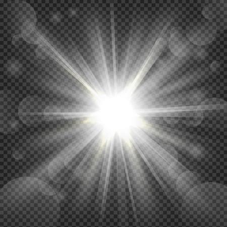 brillo blanco sobre fondo transparencia Ilustración de vector