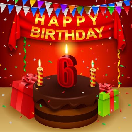 triangular flag: Happy 6th Birthday with chocolate cream cake and triangular flag