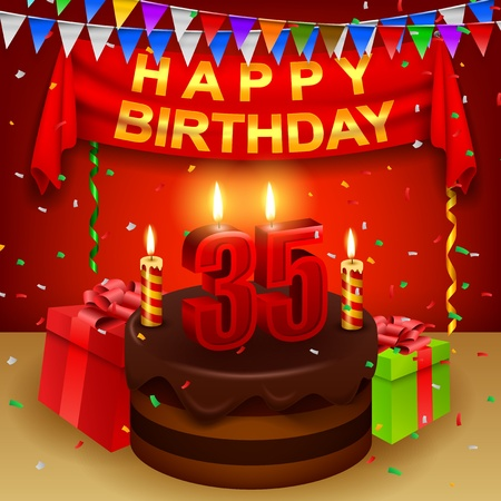 triangular flag: Happy 35th Birthday with chocolate cream cake and triangular flag