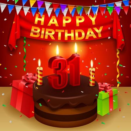 triangular flag: Happy 31st Birthday with chocolate cream cake and triangular flag