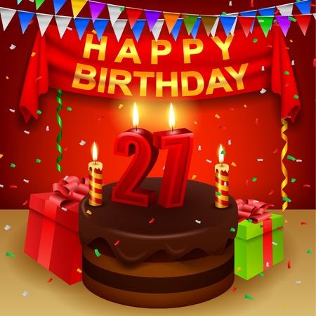 triangular flag: Happy 27th Birthday with chocolate cream cake and triangular flag