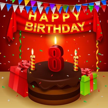 triangular flag: Happy 8th Birthday with chocolate cream cake and triangular flag Illustration