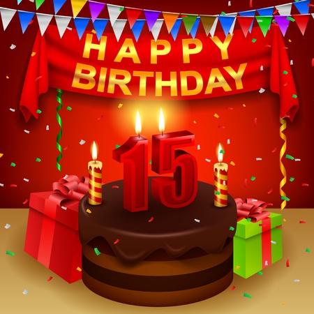 triangular flag: Happy 15th Birthday with chocolate cream cake and triangular flag