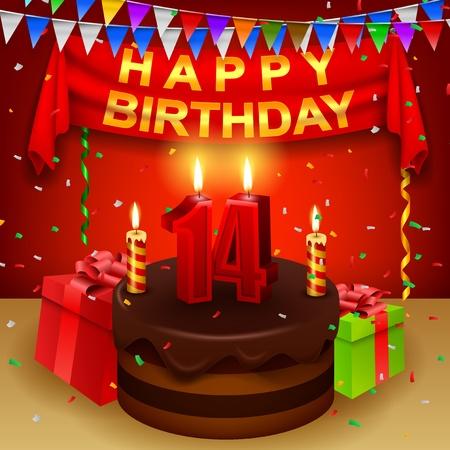 triangular flag: Happy 14th Birthday with chocolate cream cake and triangular flag