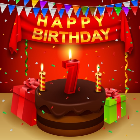 triangular flag: Happy 7th Birthday with chocolate cream cake and triangular flag