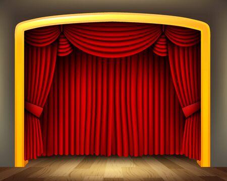 Rood gordijn van klassiek theater met houten vloer