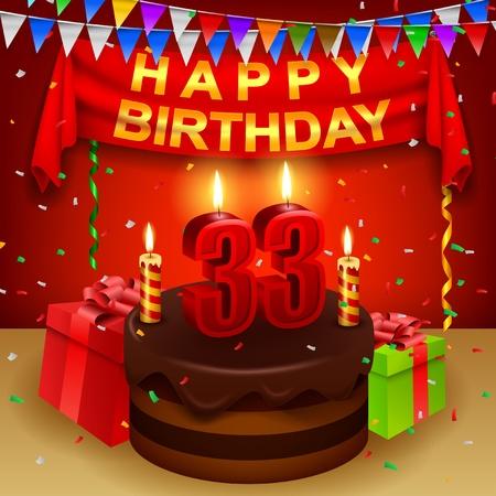 triangular flag: Happy 33rd Birthday with chocolate cream cake and triangular flag