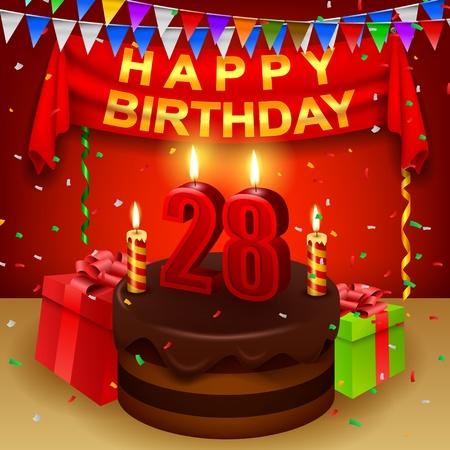 triangular flag: Happy 28th Birthday with chocolate cream cake and triangular flag