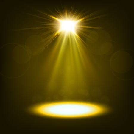 spotlight white background: Abstract gold spotlight shiny Illustration