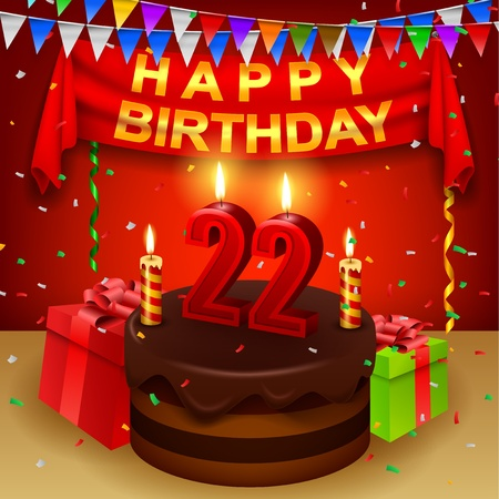 triangular flag: Happy 22nd Birthday with chocolate cream cake and triangular flag