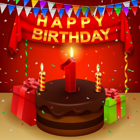 triangular flag: Happy 1st Birthday with chocolate cream cake and triangular flag