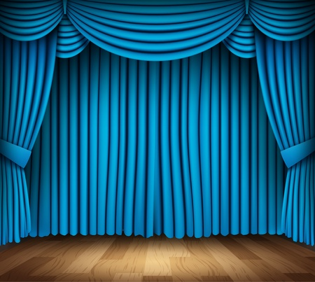 classical theater: Blue curtain of classical theater with wood floor