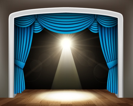 famous actor: Blue curtain of classical theater with spotlight on wood floor