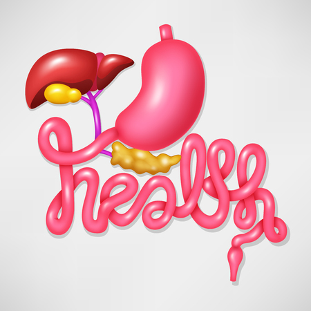 digestive: Health campaign symbol human digestive system