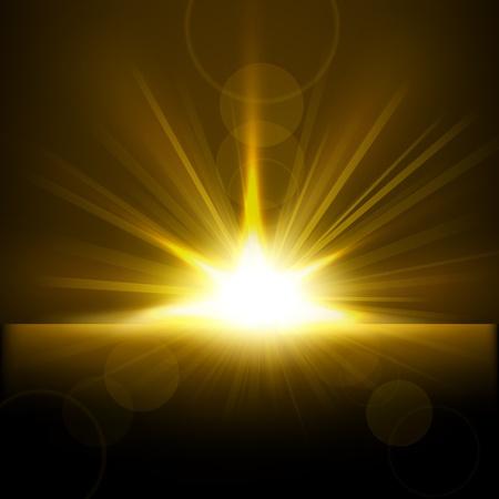 Gold Rays rising from horizon