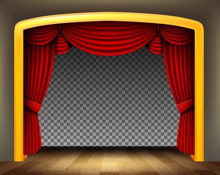 cortinas rojas: Cortina roja del teatro clásico con suelo de madera en el fondo transparente Vectores