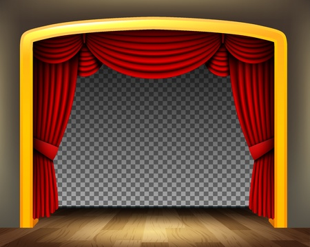 red theater curtain: Red curtain of classical theater with wood floor on transparent background Illustration