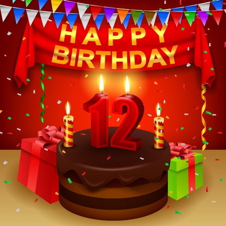 triangular flag: Happy 12th Birthday with chocolate cream cake and triangular flag Illustration