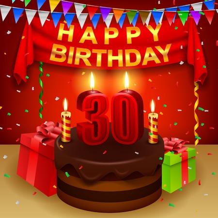 30th: Happy 30th Birthday with chocolate cream cake and triangular flag