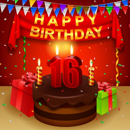 triangular flag: Happy 16th Birthday with chocolate cream cake and triangular flag