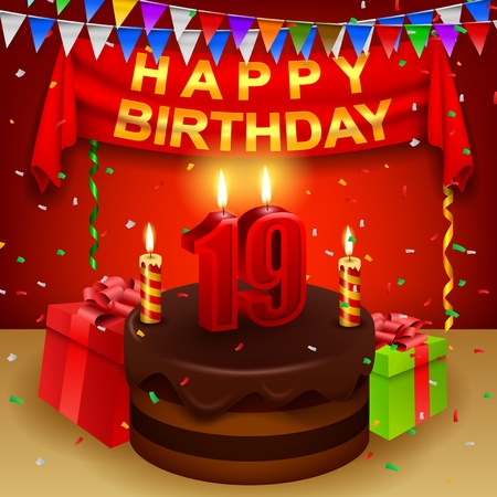 triangular flag: Happy 19th Birthday with chocolate cream cake and triangular flag Illustration