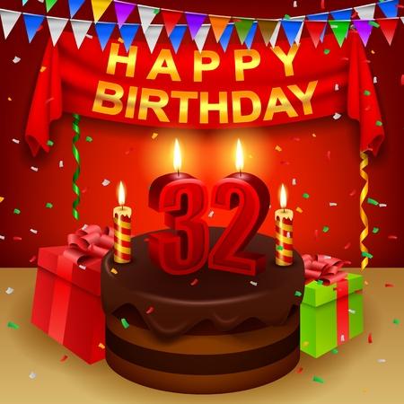 triangular flag: Happy 32nd Birthday with chocolate cream cake and triangular flag