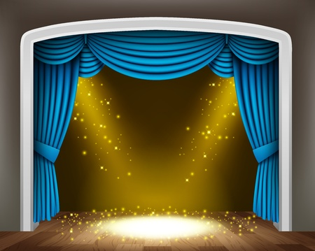 classical theater: Blue curtain of classical theater with gold spotlights and sprinkles on wood floor