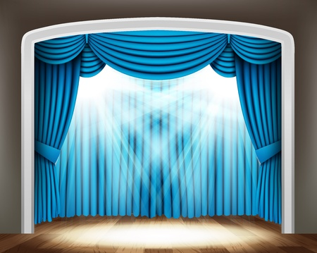 classical theater: Blue curtain of classical theater with spotlights on wood floor