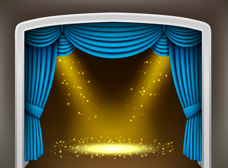 classical theater: Blue curtain of classical theater with gold spotlights and sprinkles Illustration