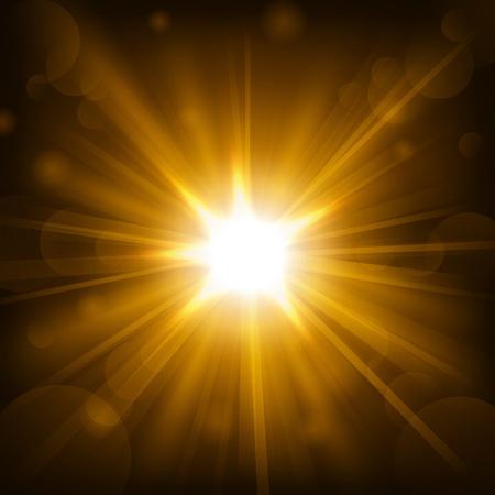 shine: Gold shine with lens flare background Illustration