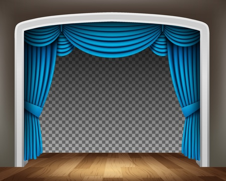 classical theater: Blue curtain of classical theater with wood floor on transparent background