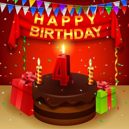triangular flag: Happy 4th Birthday with chocolate cream cake and triangular flag